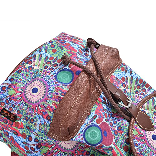 bfbef6990403 Douguyan Cute Lightweight Casual Backpack for Teenage Girls Women Print  Daypack Green Peacock 164